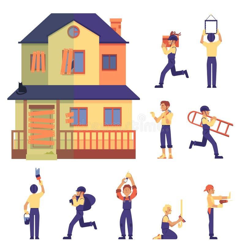 Grupo de renovação da casa com casa antes e depois, trabalhadores e trabalho no estilo liso dos desenhos animados ilustração royalty free