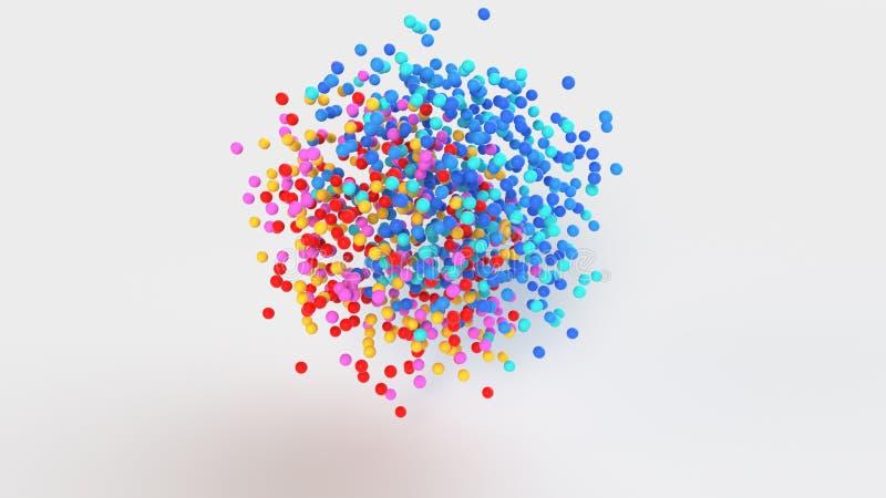 Grupo de representación colorida de las esferas 3D ilustración del vector