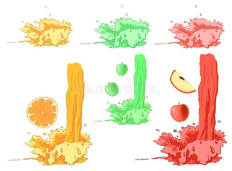 Grupo de respingo do fruto fresco - verde, laranja e vermelho ilustração royalty free
