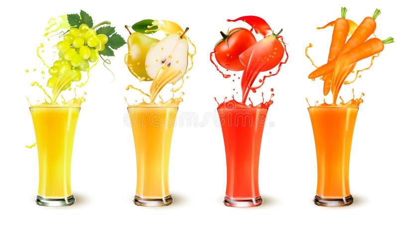 Grupo de respingo do suco de fruto em um vidro ilustração do vetor