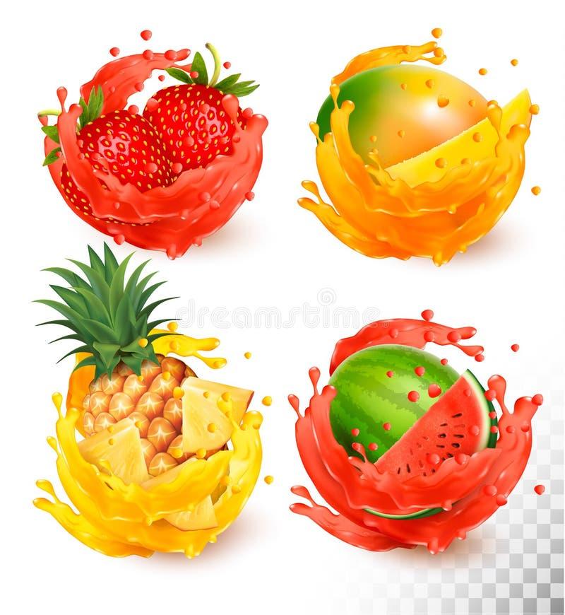 Grupo de respingo do suco de fruto ilustração do vetor