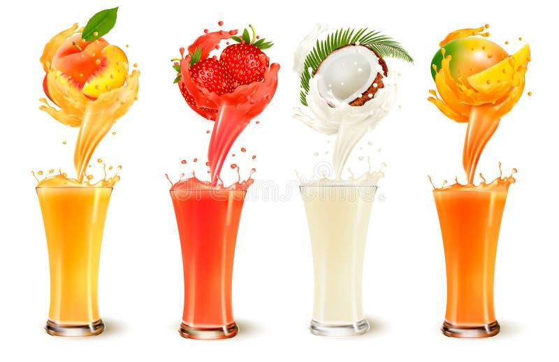 Grupo de respingo do suco de fruto em um vidro Morango, pêssego, coco ilustração royalty free