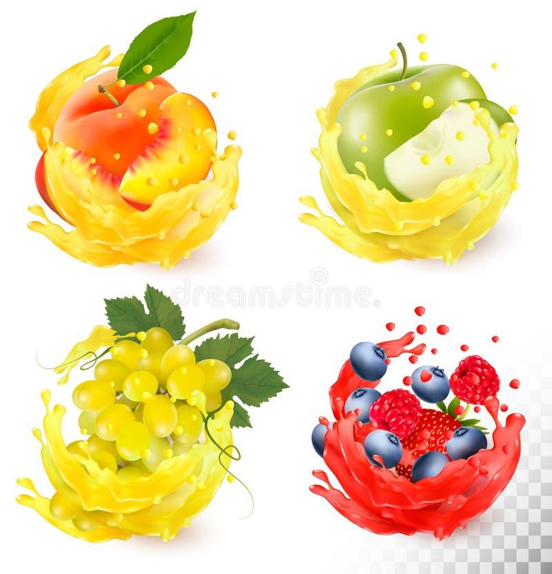 Grupo de respingo do suco de fruto Uvas, maçã, pêssego ilustração royalty free