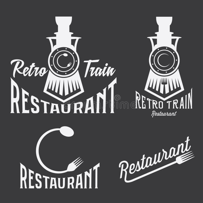grupo de restaurante retro do trem ilustração stock