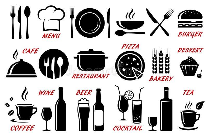 Grupo de restaurante, silhuetas dos ícones do café ilustração royalty free