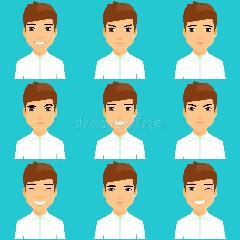 Grupo de retratos de expressar emoções ilustração stock