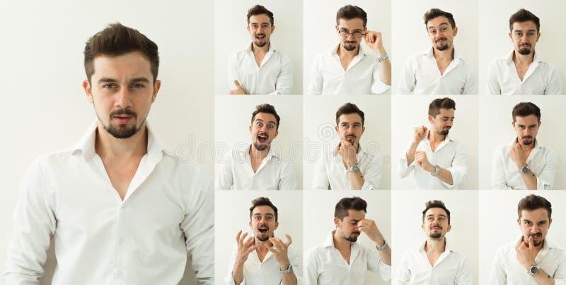 Grupo de retratos do ` s do homem novo com emoções diferentes fotos de stock royalty free