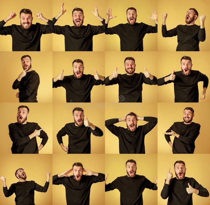 Grupo de retratos do ` s do homem novo com emoções diferentes fotografia de stock