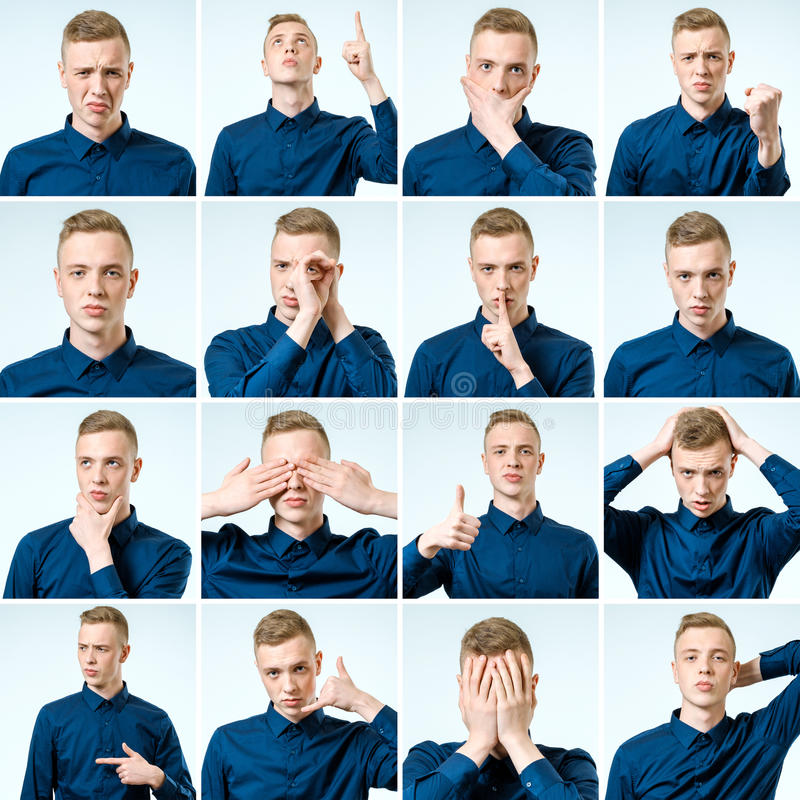 Grupo de retratos do ` s do homem novo com emoções diferentes fotografia de stock royalty free