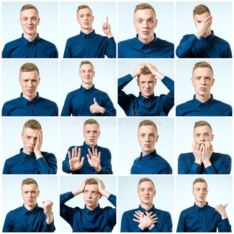 Grupo de retratos do ` s do homem novo com emoções e gesto diferentes imagens de stock royalty free