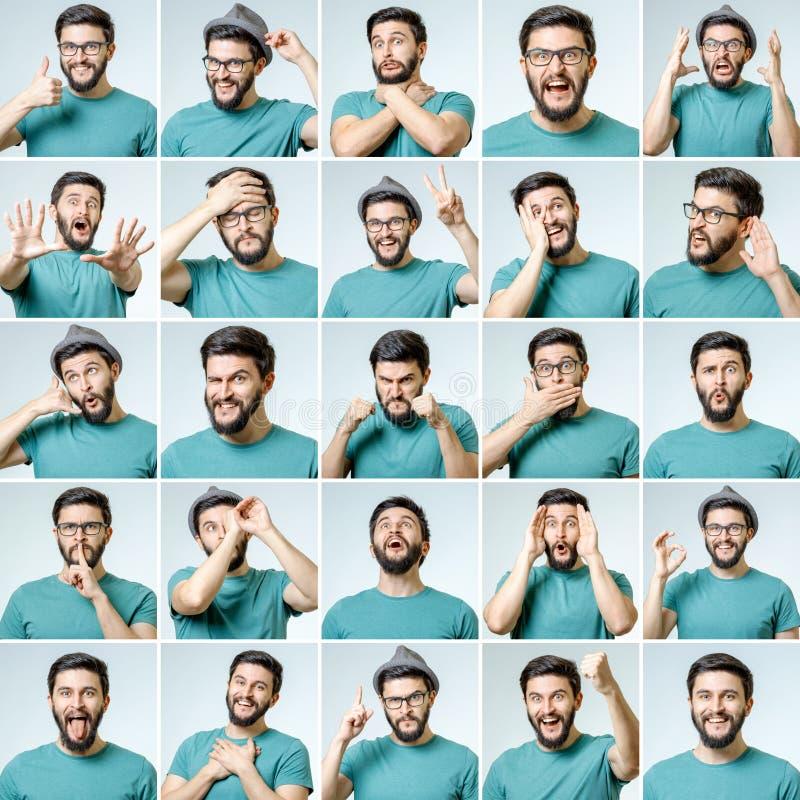 Grupo de retratos do ` s do homem novo com emoções diferentes imagens de stock