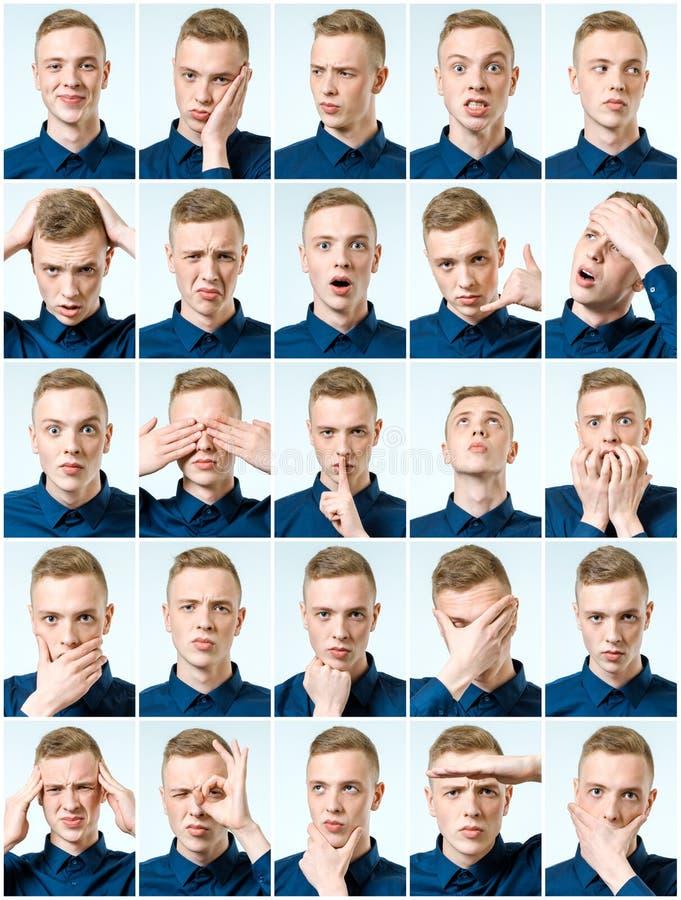 Grupo de retratos do ` s do homem novo com emoções e gesto diferentes fotografia de stock