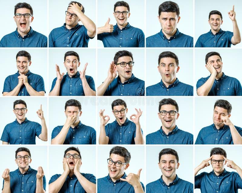 Grupo de retratos do ` s do homem novo com emoções e gesto diferentes imagens de stock