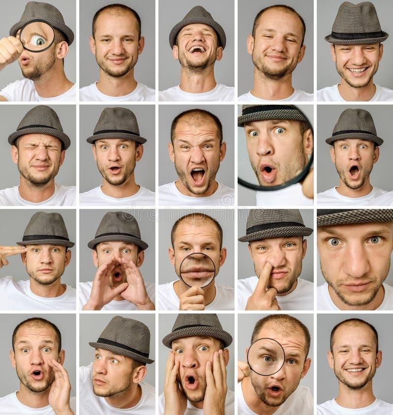 Grupo de retratos do ` s do homem novo com emoções e gestos diferentes fotografia de stock