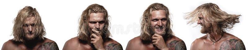 Grupo de retratos do ` s do homem novo com emo??es diferentes fotos de stock
