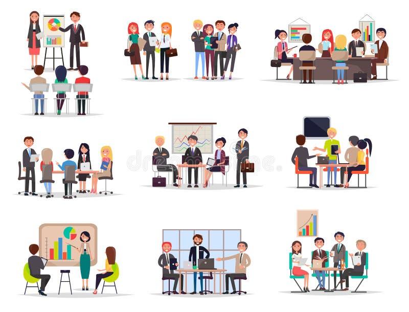 Grupo de reunião de negócios no estilo dos desenhos animados liso ilustração stock