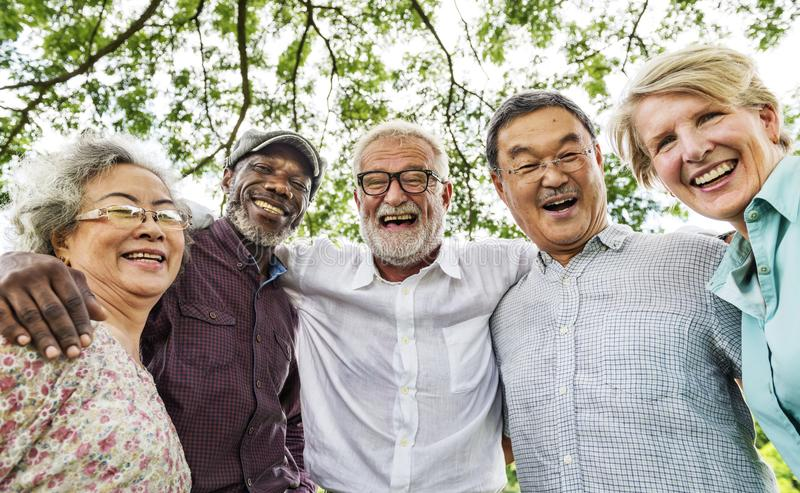 Grupo de reunião superior da discussão da aposentadoria acima do conceito imagens de stock