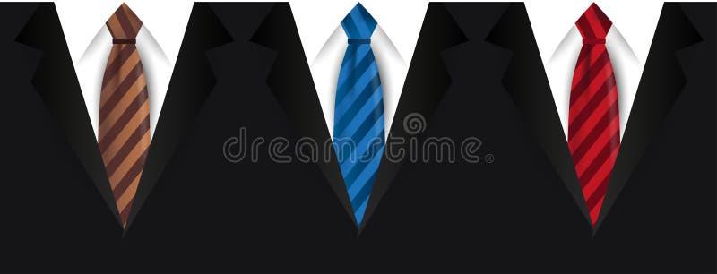 Grupo de revestimentos do ` s dos homens Ternos com e uma gravata ilustração do vetor