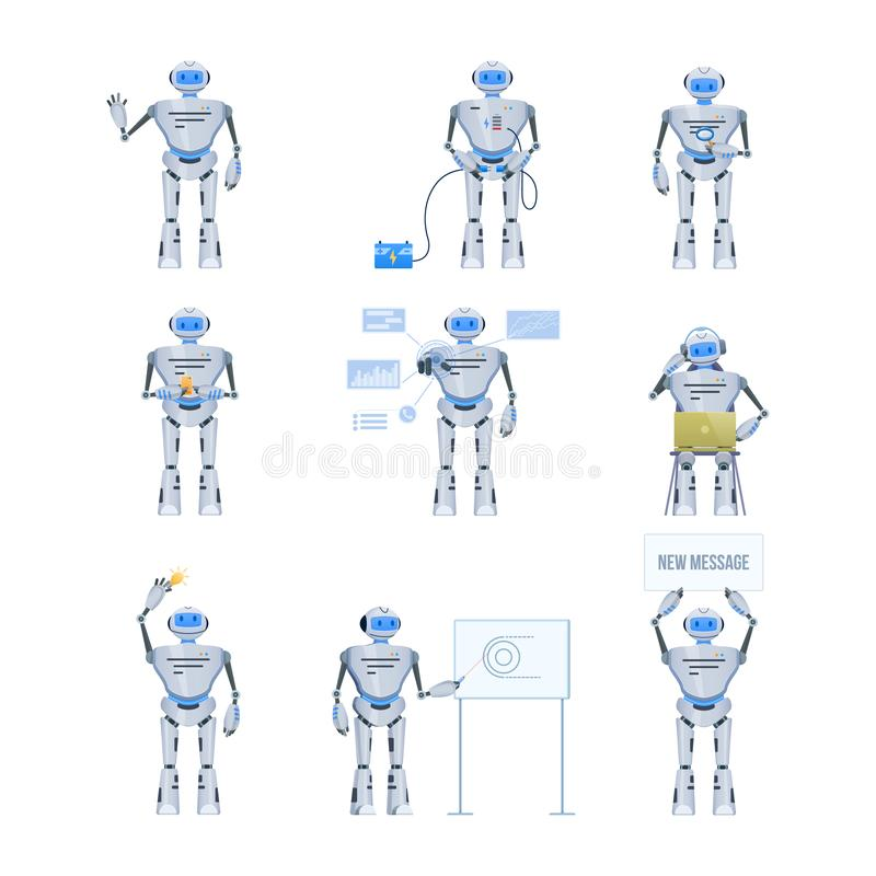 Grupo de robô eletrônico moderno, bot do bate-papo Funcionamento, educação, apoio ilustração royalty free