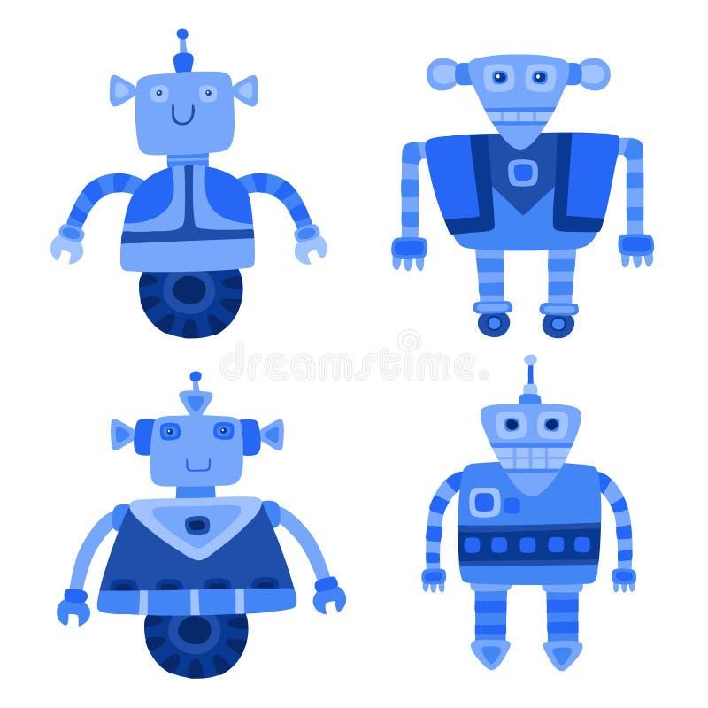 Grupo de robôs bonitos azuis diferentes Ilustração do vetor ilustração do vetor