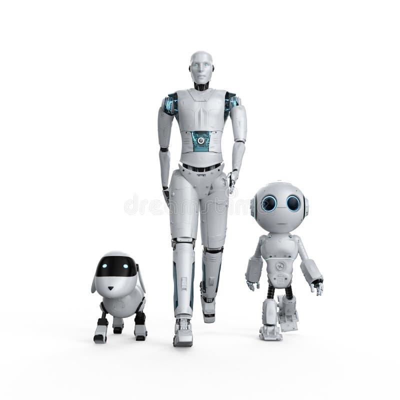 Grupo de robôs da automatização ilustração do vetor