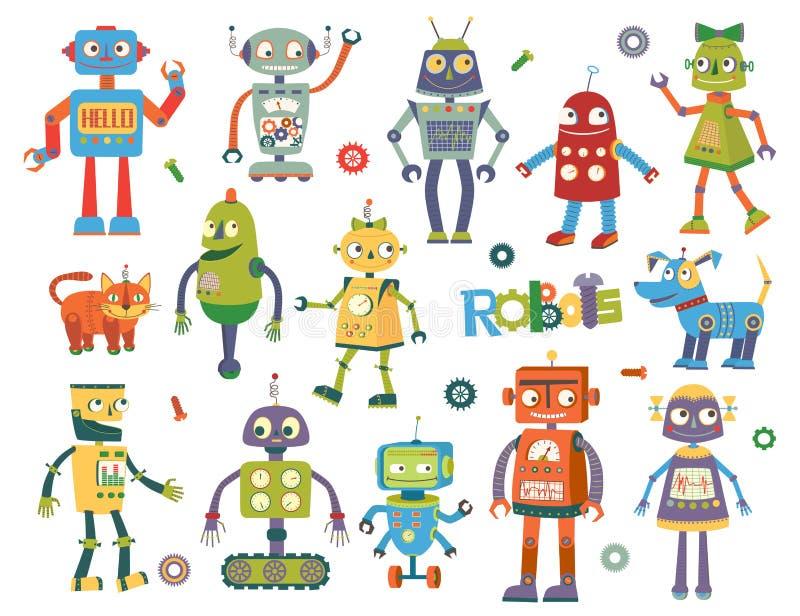 Grupo de robôs do vetor ilustração do vetor