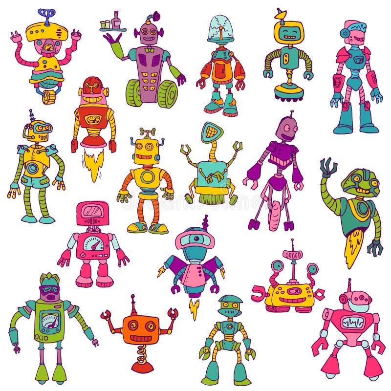 Grupo de robôs - garatujas tiradas mão ilustração royalty free