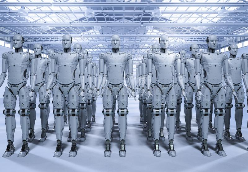 Grupo de robots stock de ilustración