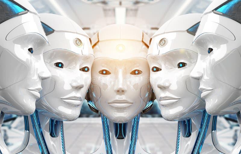 Grupo de robots femeninos cerca de cada otros representación del concepto 3d del ejército del cyborg stock de ilustración