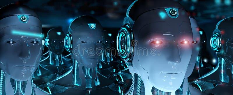 Grupo de robots masculinos que siguen la representación del ejército 3d del cyborg del líder libre illustration