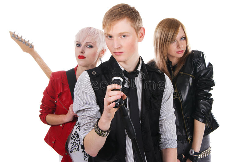 Grupo de rock adolescente imagem de stock royalty free