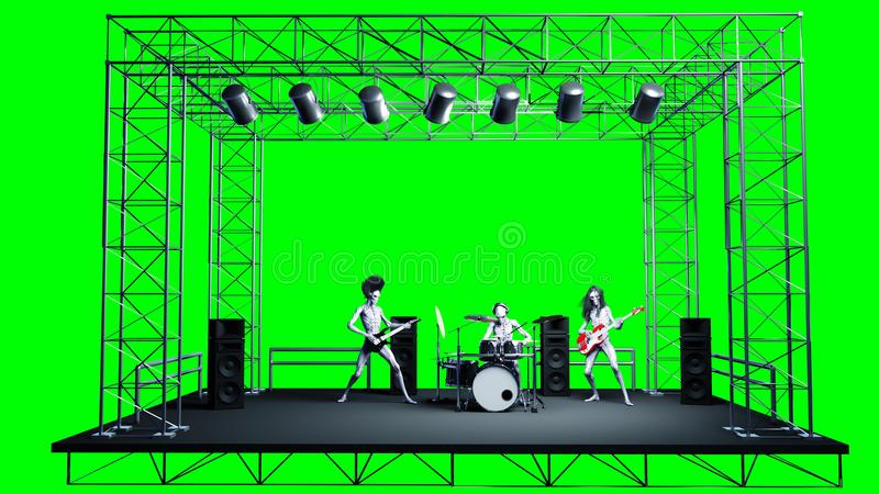 Grupo de rock estrangeiro engraçado Baixo, cilindro, guitarra Shaders realísticos do movimento e da pele rendição 3d ilustração royalty free