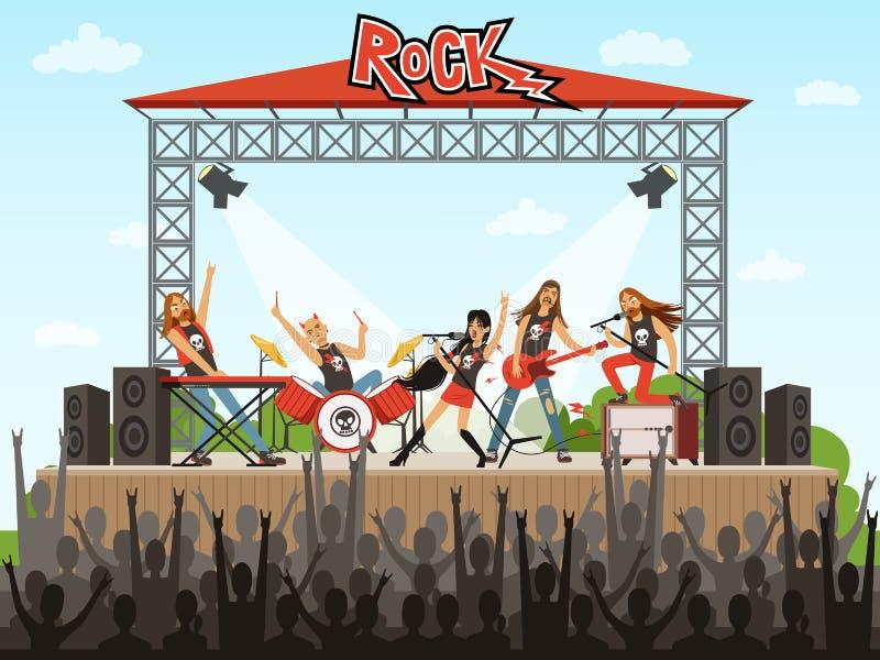 Grupo de rock no estágio Povos no concerto Desempenho da música Ilustração do vetor no estilo dos desenhos animados ilustração royalty free
