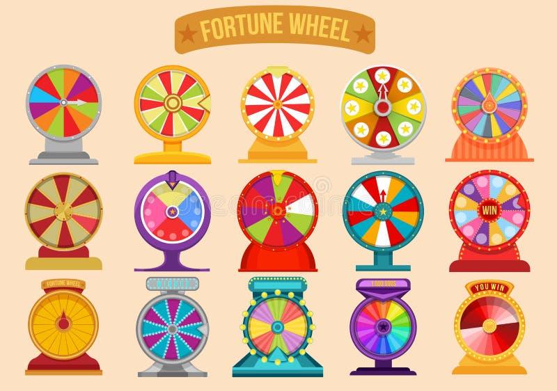 Grupo de rodas de giro da fortuna da roleta Ilustração da sorte da loteria ilustração do vetor