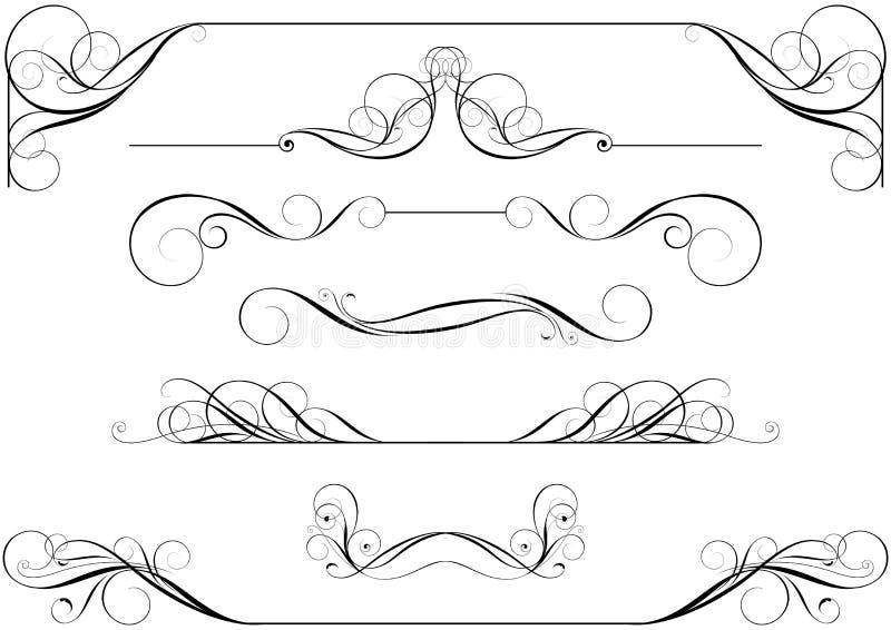 Grupo de rolos caligráficos ilustração stock