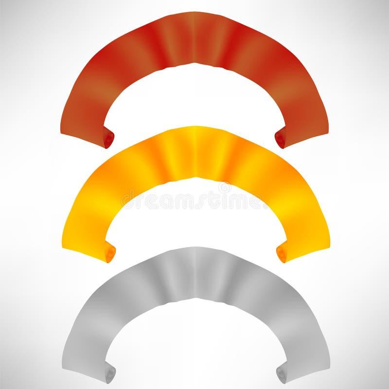 Grupo de rolos de papel coloridos Fitas coloridas ilustração stock