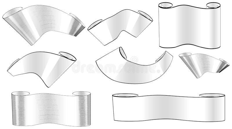 Grupo de rolos diferentes tirada e do vetor de preto e branco ilustração stock