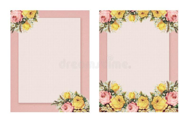 Grupo de rosa floral do estilo chique gasto imprimível do vintage dois estacionária no fundo do papel verde ilustração royalty free