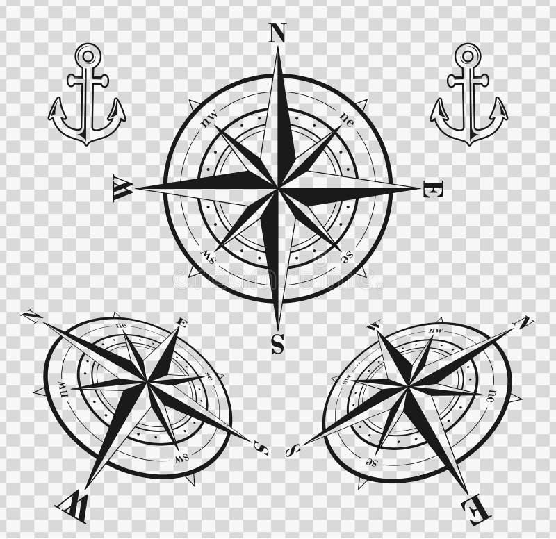 Grupo de rosas de compasso ou de rosas de vento ilustração do vetor