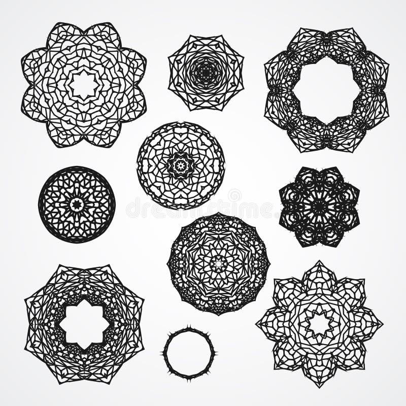 Grupo de rosas góticos do ornamento do círculo no vetor, isolado ilustração royalty free