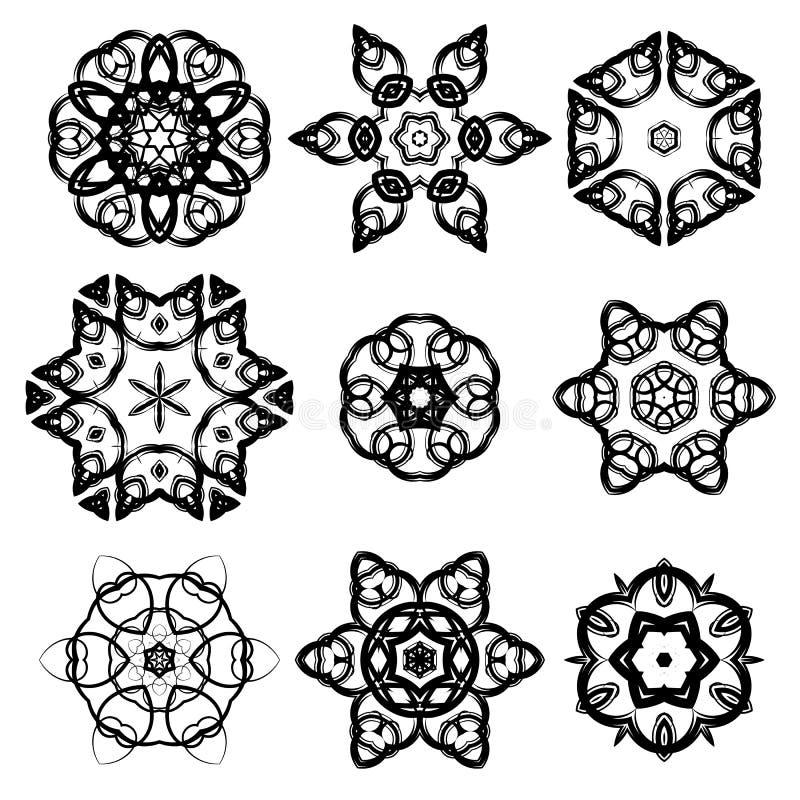 Grupo de rosetas decorativas diferentes ilustração royalty free
