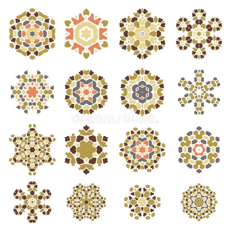 Grupo de rosetas decorativas diferentes ilustração do vetor