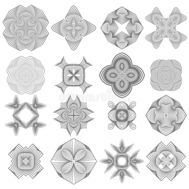 Grupo de rosetas diferentes do Guilloche do ícone ilustração do vetor