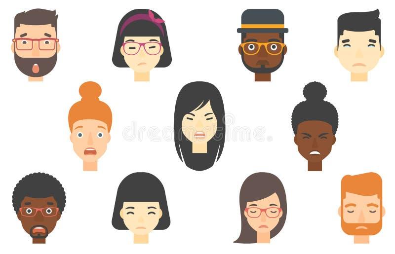 Grupo de rostos humanos que expressam emoções diferentes ilustração stock