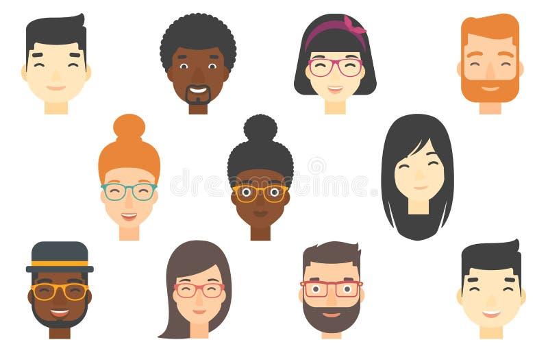 Grupo de rostos humanos que expressam emoções positivas ilustração do vetor