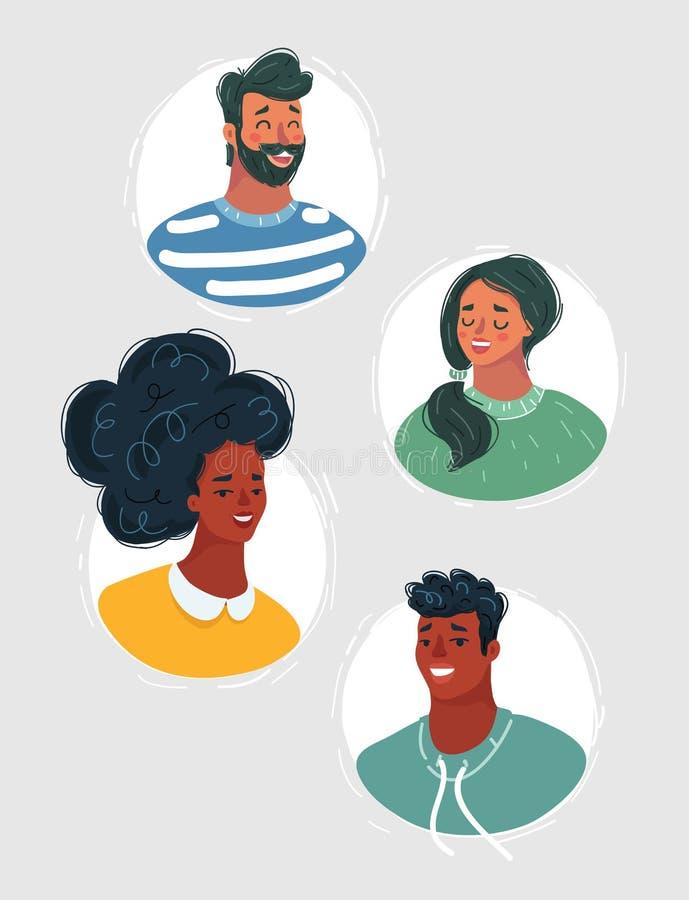 Grupo de rostos humanos que expressam emo??es positivas ilustração do vetor