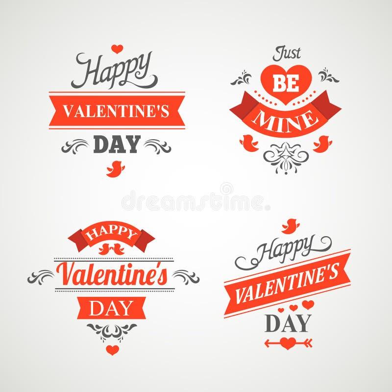 Grupo de rotulação feliz da mão do dia de Valentim - ilustração royalty free