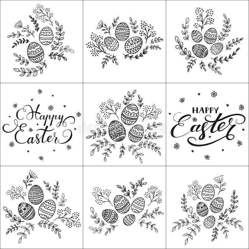 Grupo de rotular a Páscoa feliz e ovos decorativos ilustração stock
