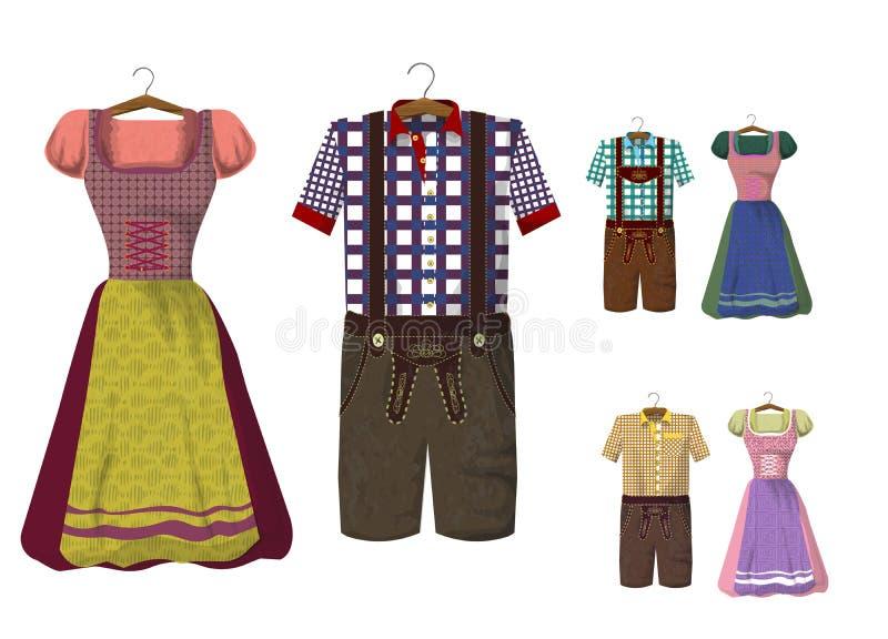 Grupo de roupa bávara Dirdle e de Lederhosen ilustração do vetor