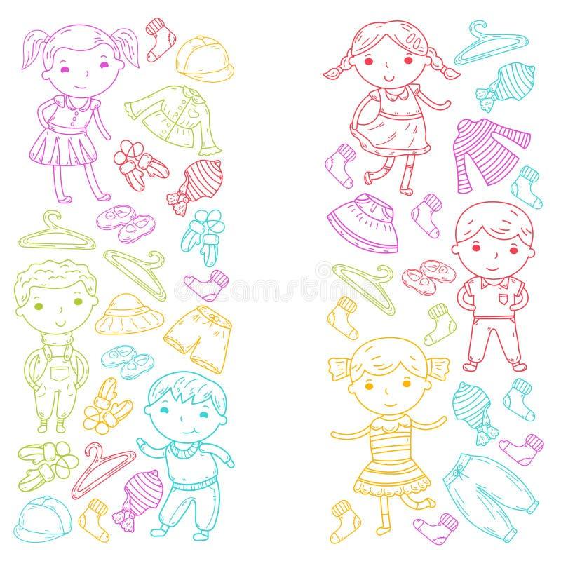 Grupo de roupa das crianças Ícones do vetor kindergarten berçário atelier Roupa da escola Roupa do verão Loja das crianças ilustração royalty free